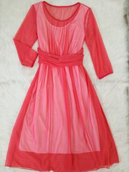 Разкроена рокля в коралово